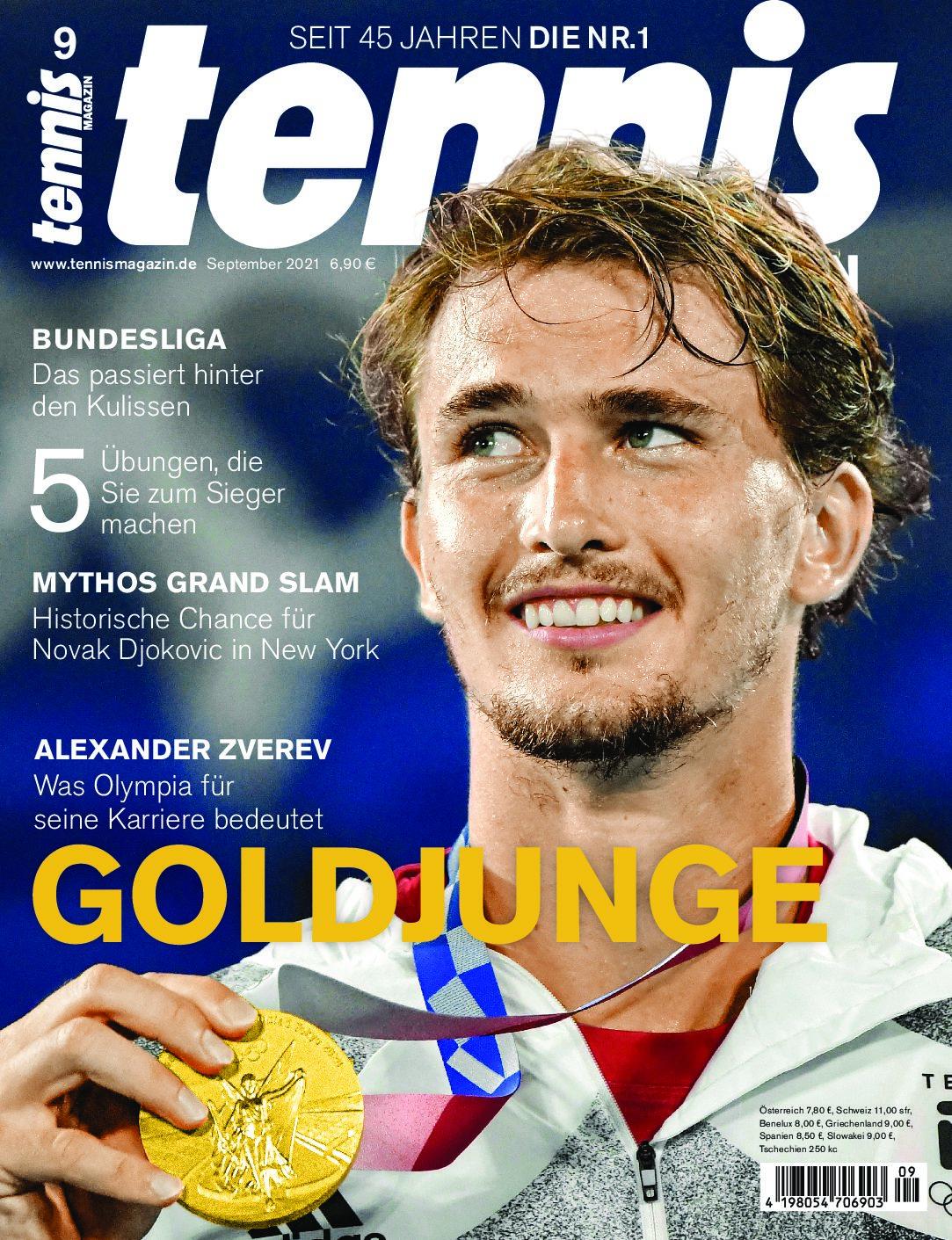 tennis MAGAZIN 09/2021: Goldjunge Alexander Zverev